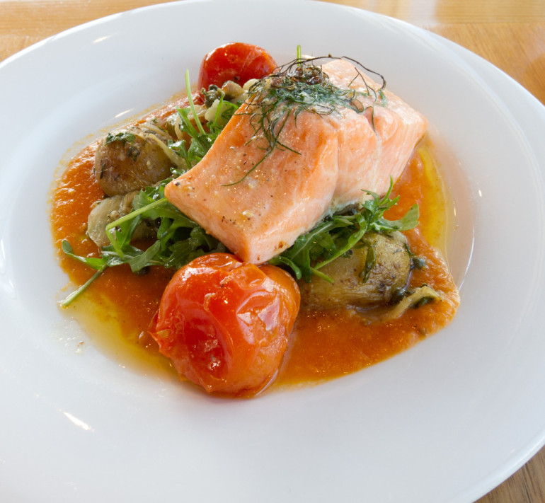Poached Salmon with roasted potatoes, tomato, rocket and dill