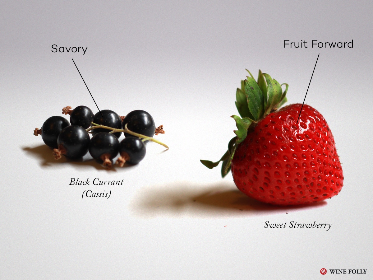Savory vs Fruit Forward Wine Terms Black Currant and Ripe Strawberry