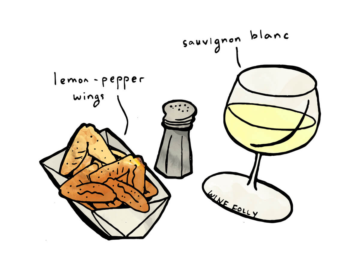 French Sauvignon Blanc paired with lemon pepper chicken - illustration by Wine Folly
