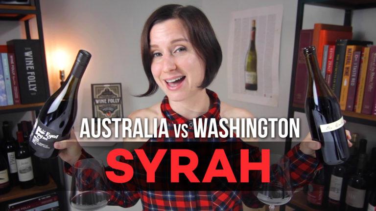 Madeline Puckette tastes Syrah wine