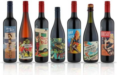 some young punks wine pinup girl wine label