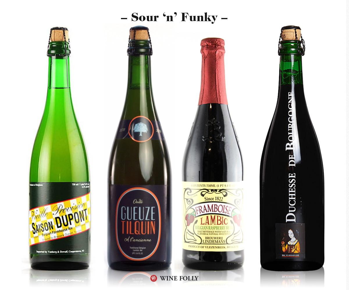 Sour Funky Beers Saison-dupont-Gueuze Tilquin, Lindemans Framboise Lambic, Duchesse de Bourgogne