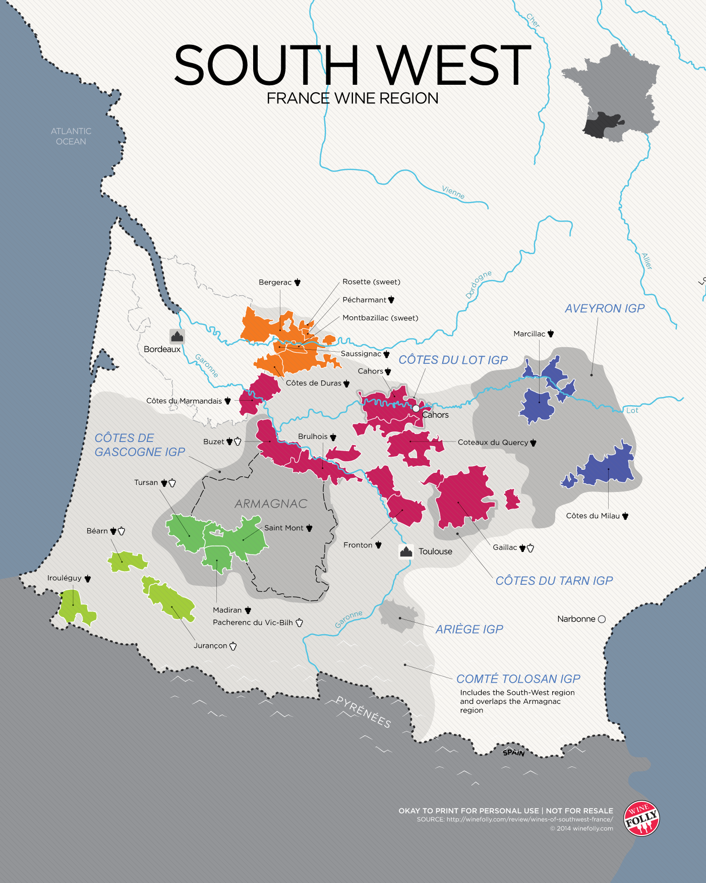 South west France Wine Map