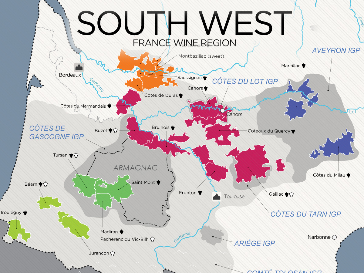 Map Of France Showing Bordeaux.The Wines Of South West France Map Wine Folly