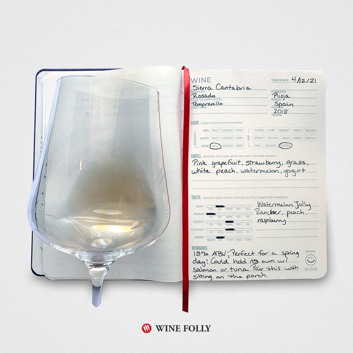 Wine journal with a glass of Rosado