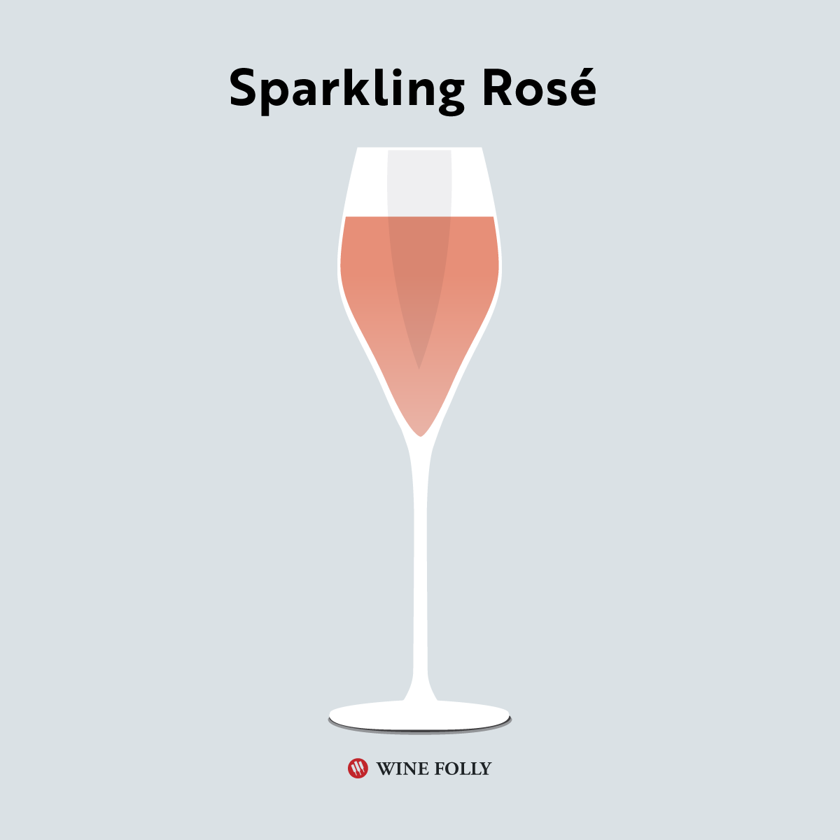 Illustration of sparkling rosé wine in a glass by Wine Folly