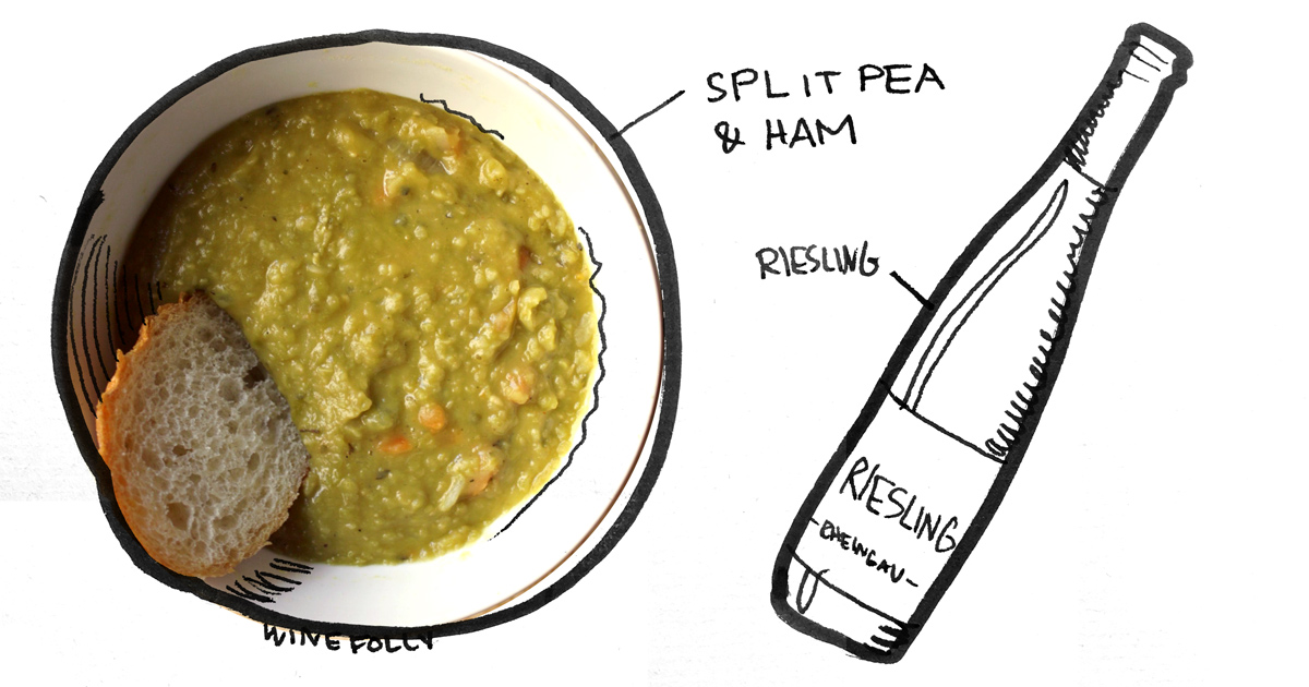 split-pea-soup-riesling-pairing-winefolly-illustration