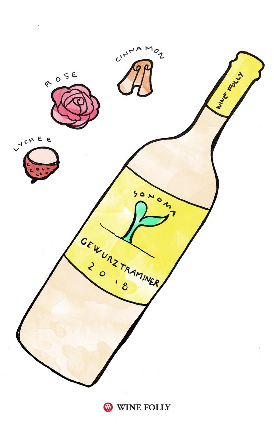 Gewurztraminer Tasting Notes Illustration by Wine Folly