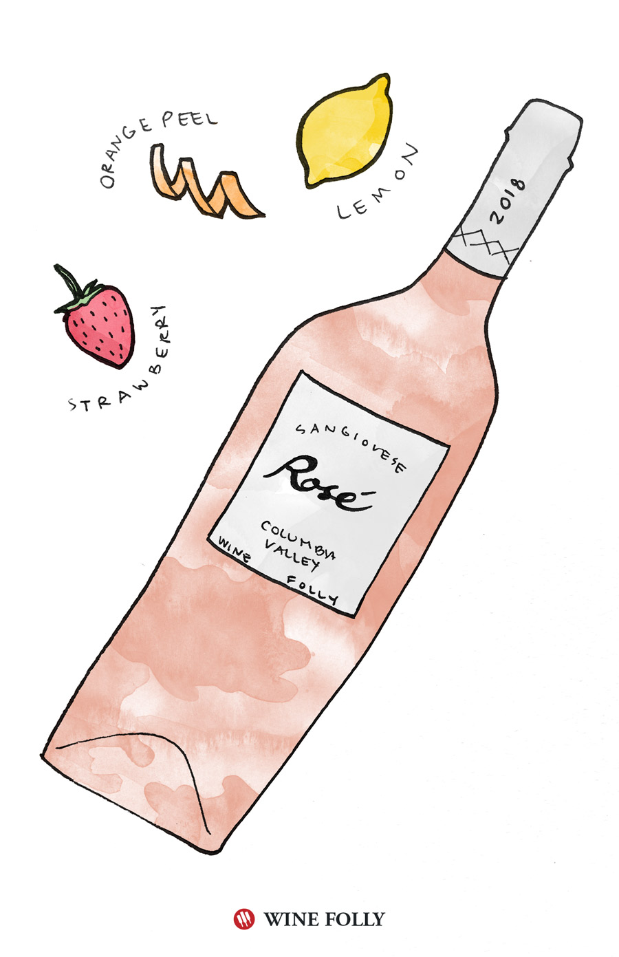 Pacific Northwest Rose Wine Illustration by Wine Folly Pacific Northwest Rose Wine Illustration by Wine Folly