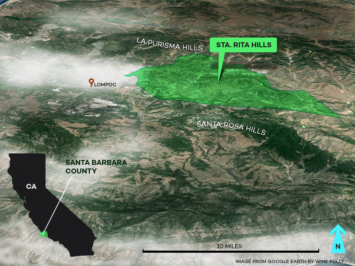 Sta Rita Hills AVA Wine Map in Santa Barbara County