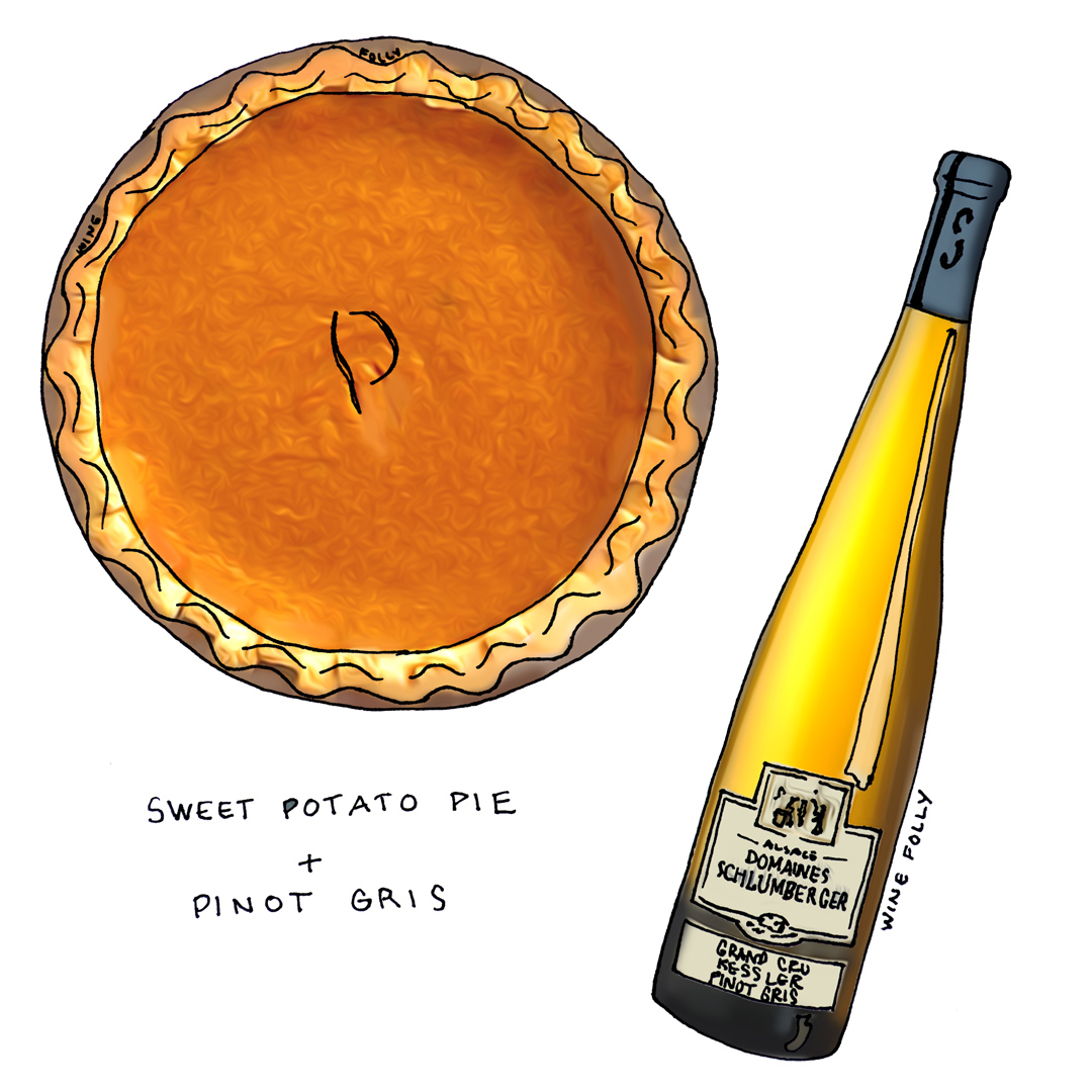 Sweet Potato Pie and Wine Pairing with Alsace Pinot Gris Illustration by Wine Folly