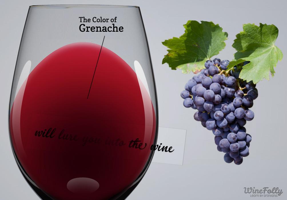 the color of grenache wine and grenache grapes
