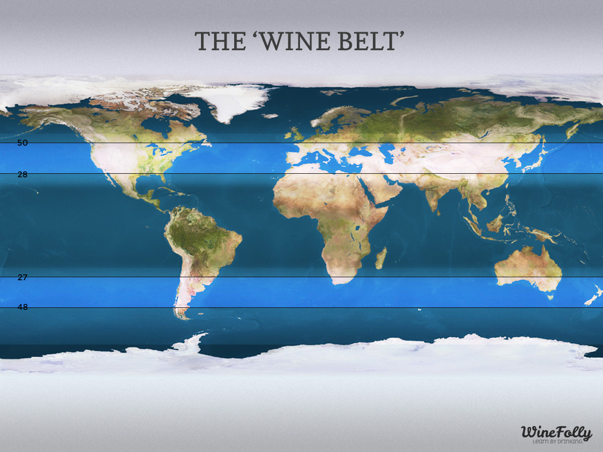 Wine regions of the world 'The Wine Belt'