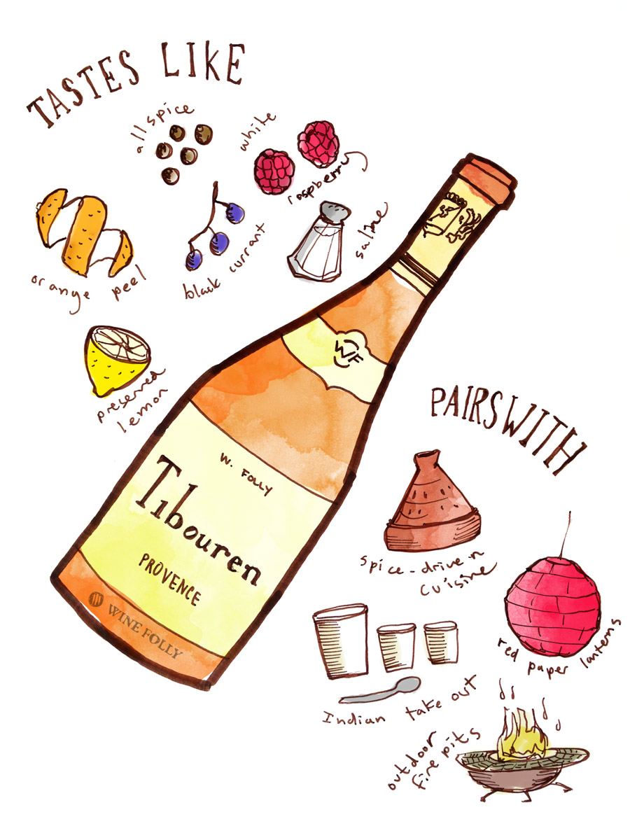 Tibouren rosé wine taste profile illustration by Wine Folly