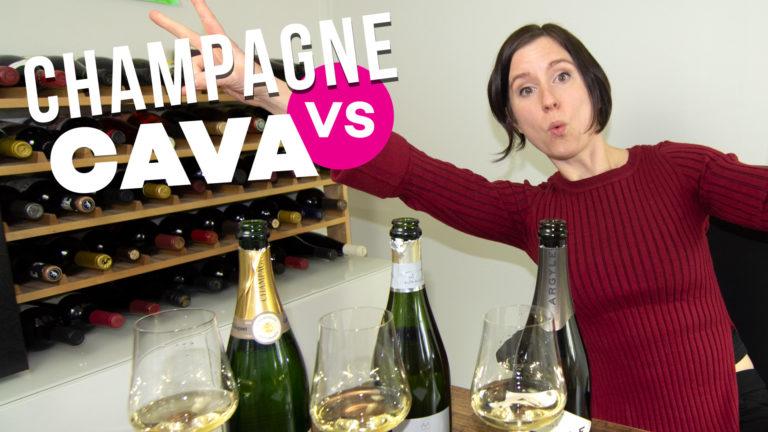 Madeline Puckette tastes Champagne vs Cava in 2019