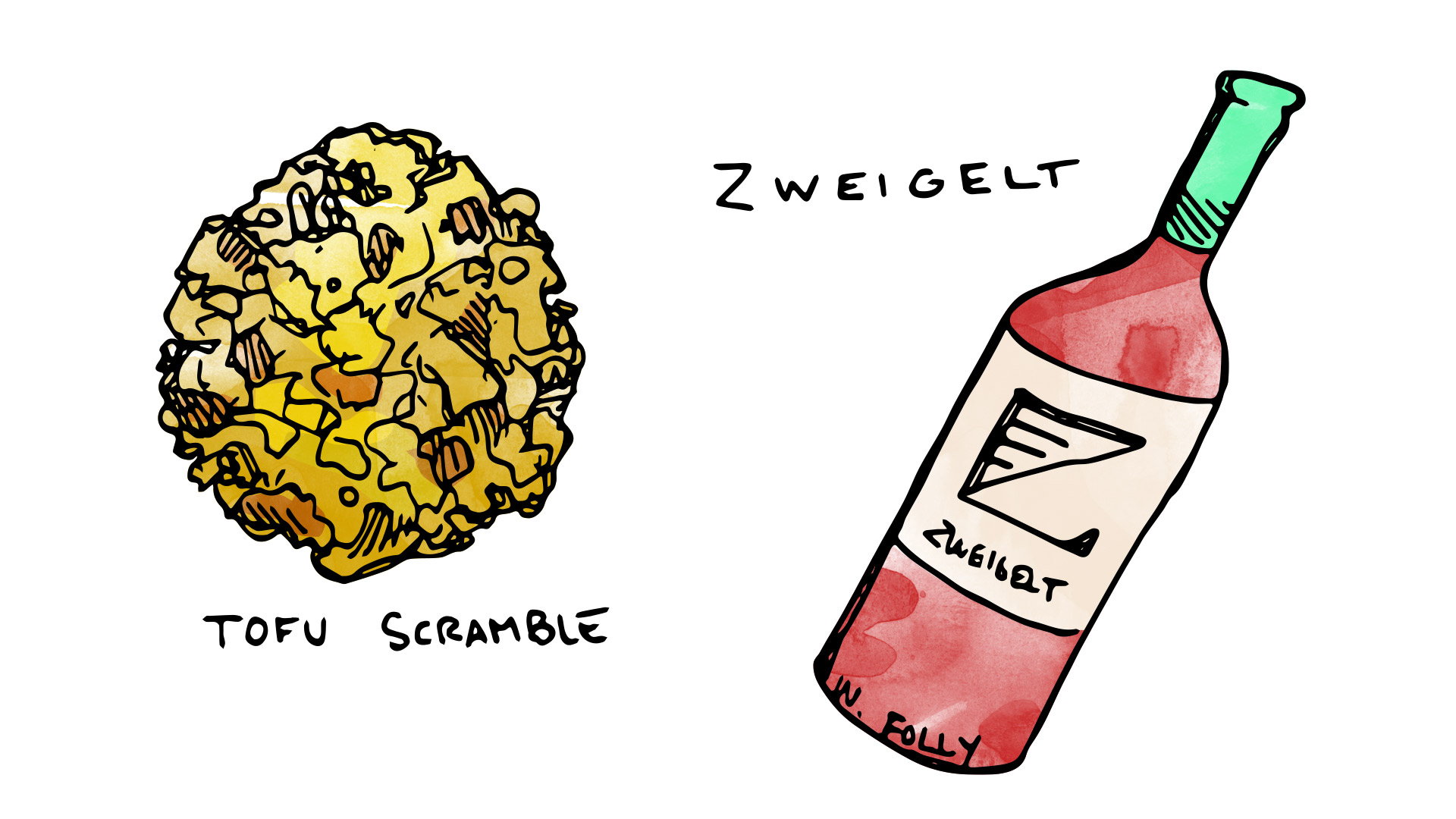 Tofu scramble with soy chorizo wine pairing with zweigelt illustration by Wine Folly