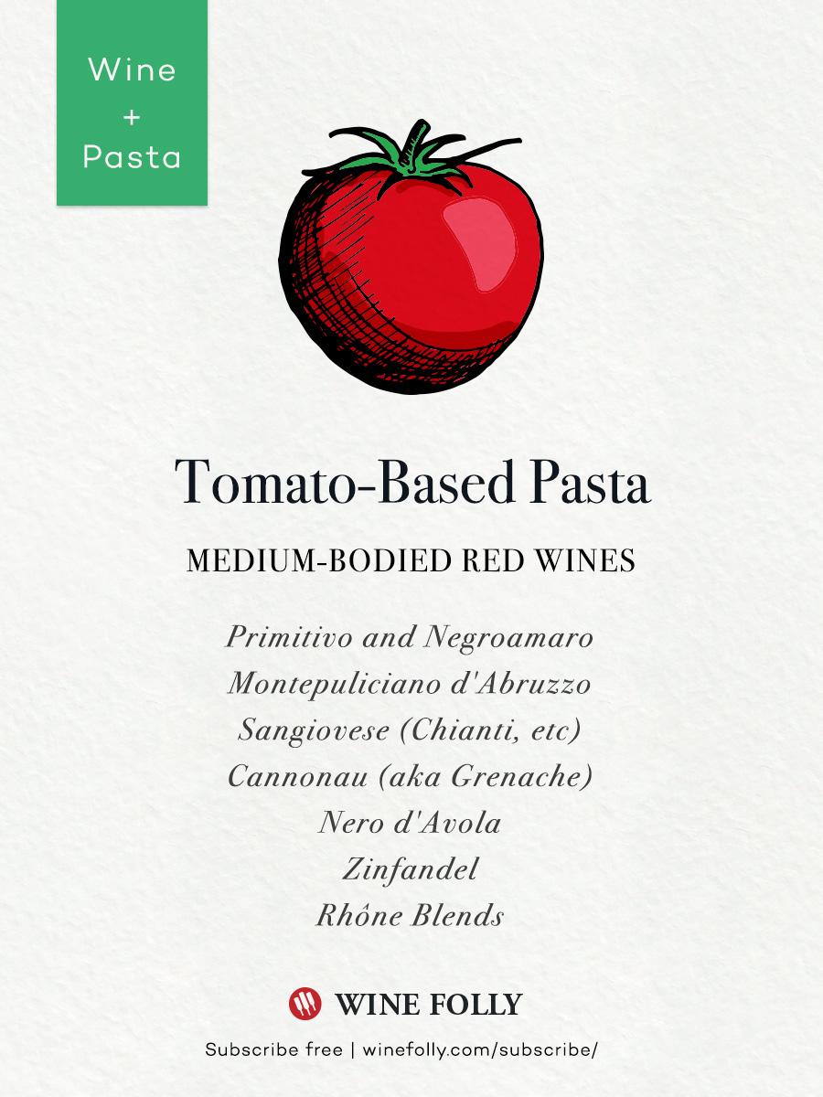 Tomato pasta sauce wine pairings