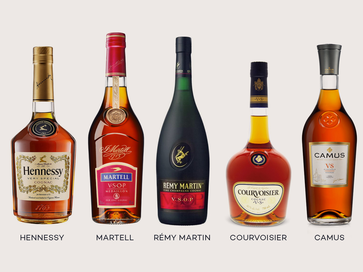 Top Cognac Brands include Hennessy, Martell, Rémy Martin, Courvoisier, and Camus