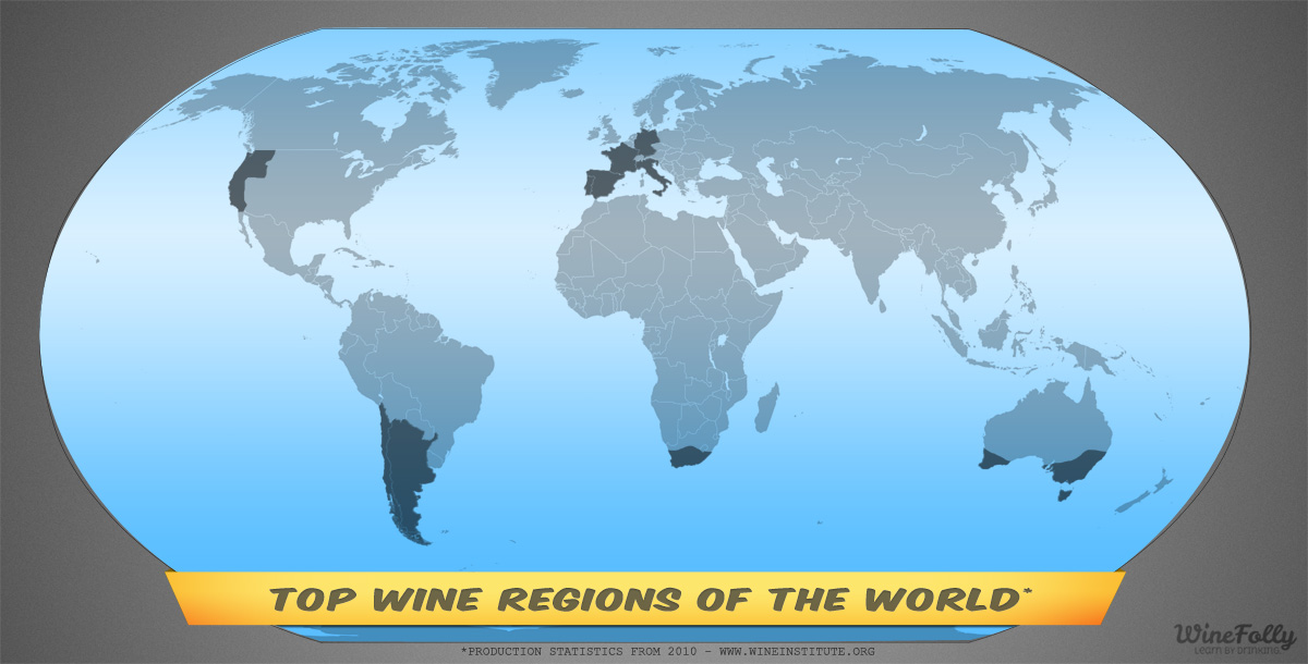 Top Wine Regions World Map