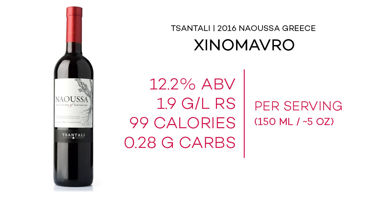 fact sheet for tsantali xinomavro from naoussa greece including abv, residual sugar, calories, and carbs