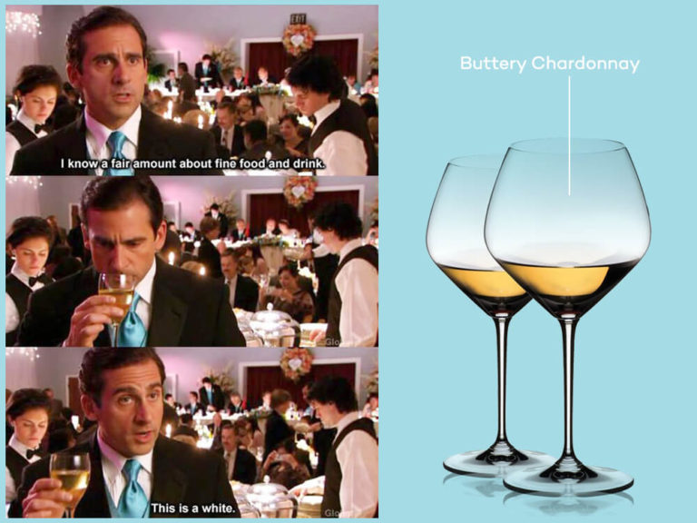 Michael Scott from the office pontificates about buttery chardonnay