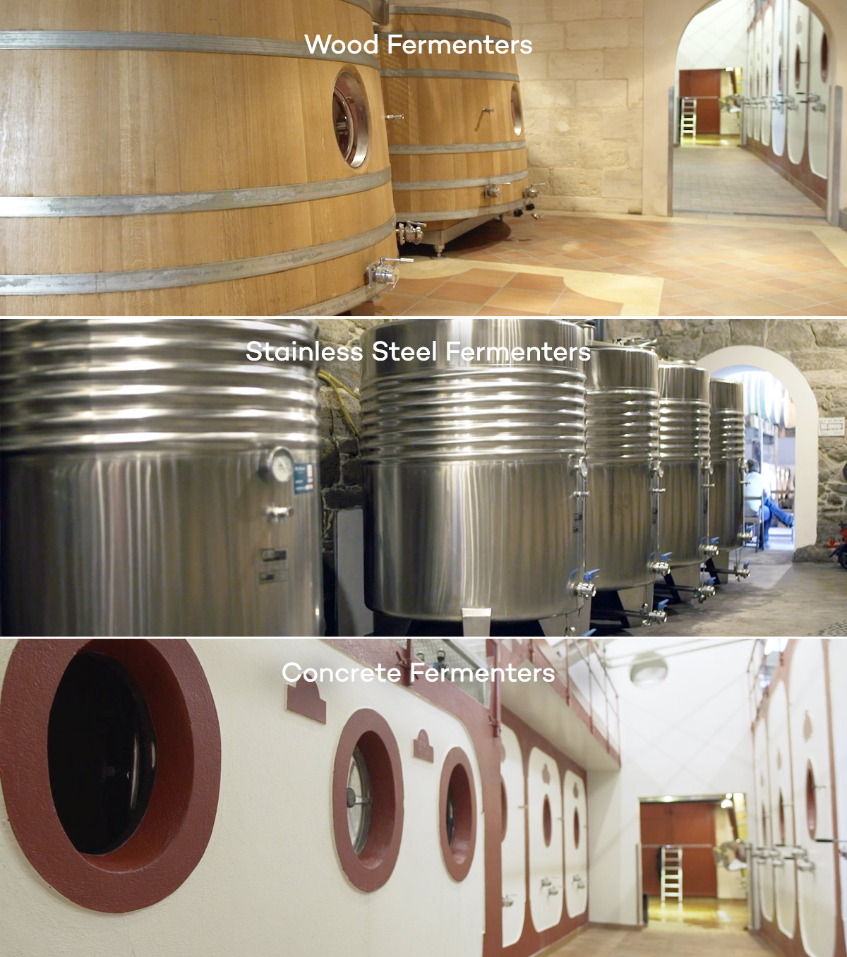 Types of wine fermentation tanks