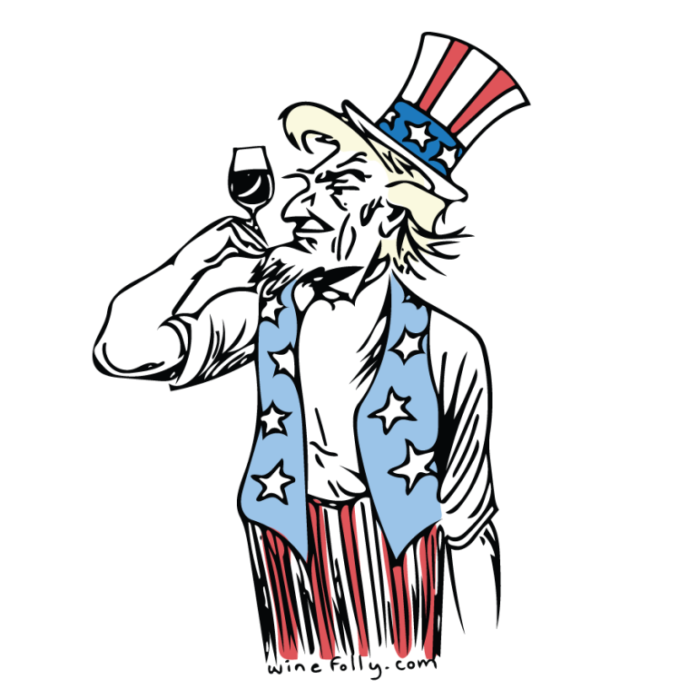 Uncle Sam Illustration holding a glass of wine