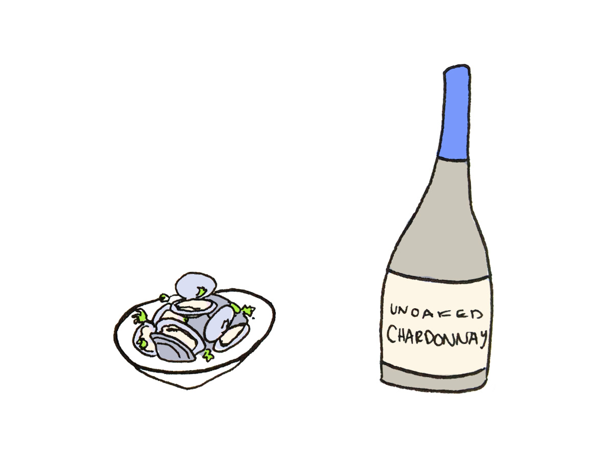 Unoaked Chardonnay pairing with clams