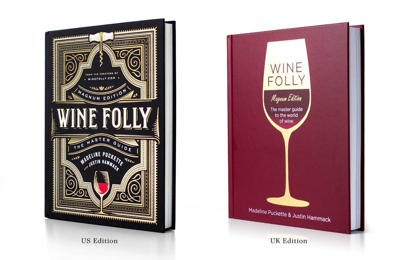 Us and UK versions of the Wine Folly Magnum Edition book
