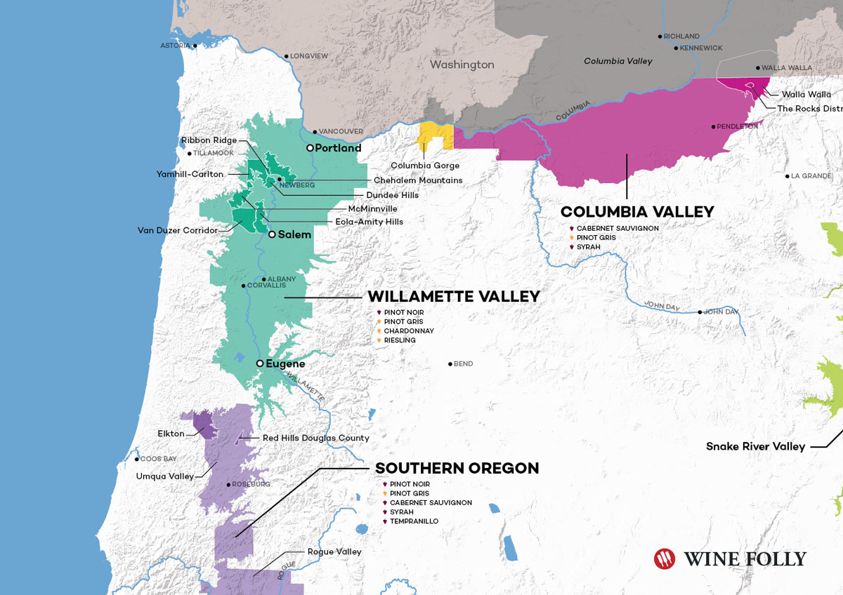 Van Duzer Corridor - Oregon Wine Map by Wine Folly
