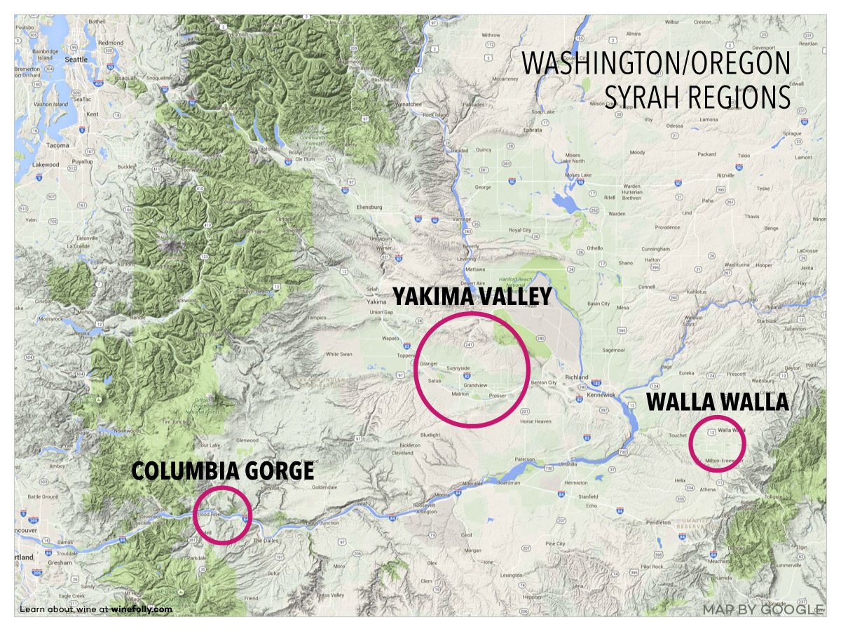 Washington and Oregon Syrah Regions Map