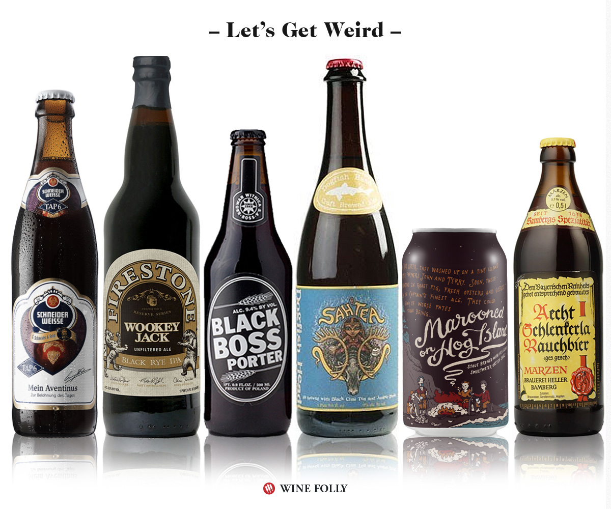 Weird Beers and Wine Alternatives: Schneider Weisse Tap 6 Unser, Wookey Jack, Black Boss Porter, Dogfish Head Sah'Tea, Marooned on Hog Island, Rauchbier,