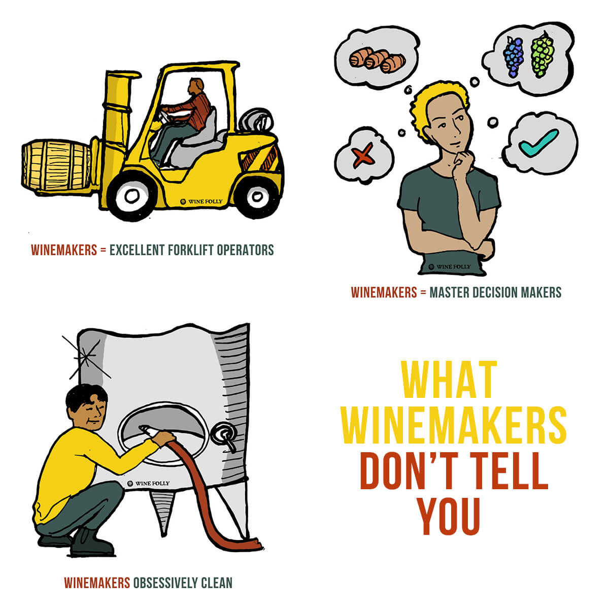 What winemakers don't tell you about the job illustration by Wine Folly