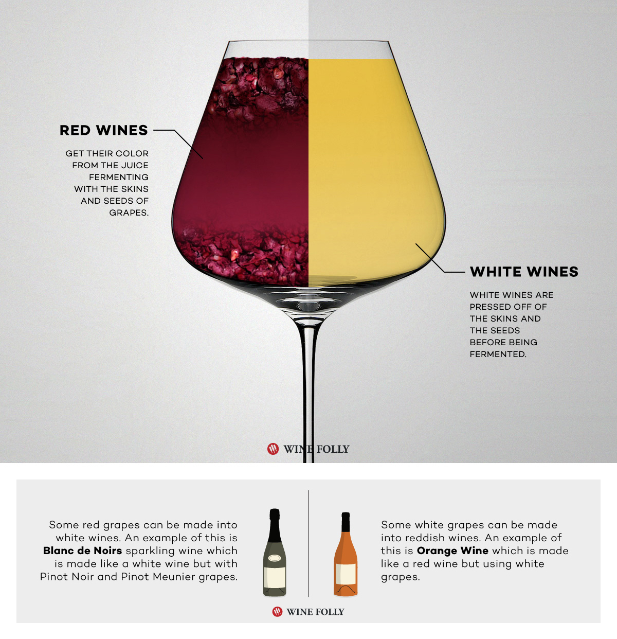 Red wine vs white wine is fermented differently by Wine Folly
