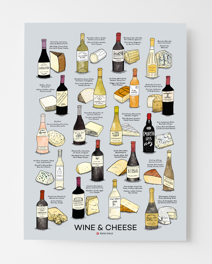 Wine and Cheese Poster Gray Blue Background by Wine Folly