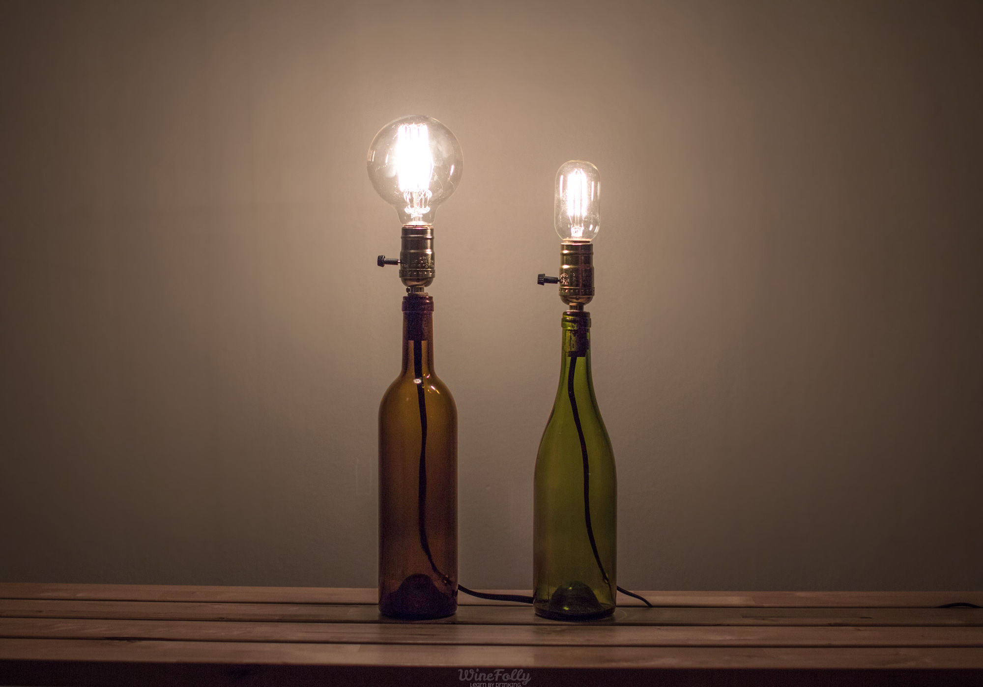 Wine Bottle Lamp Ideas