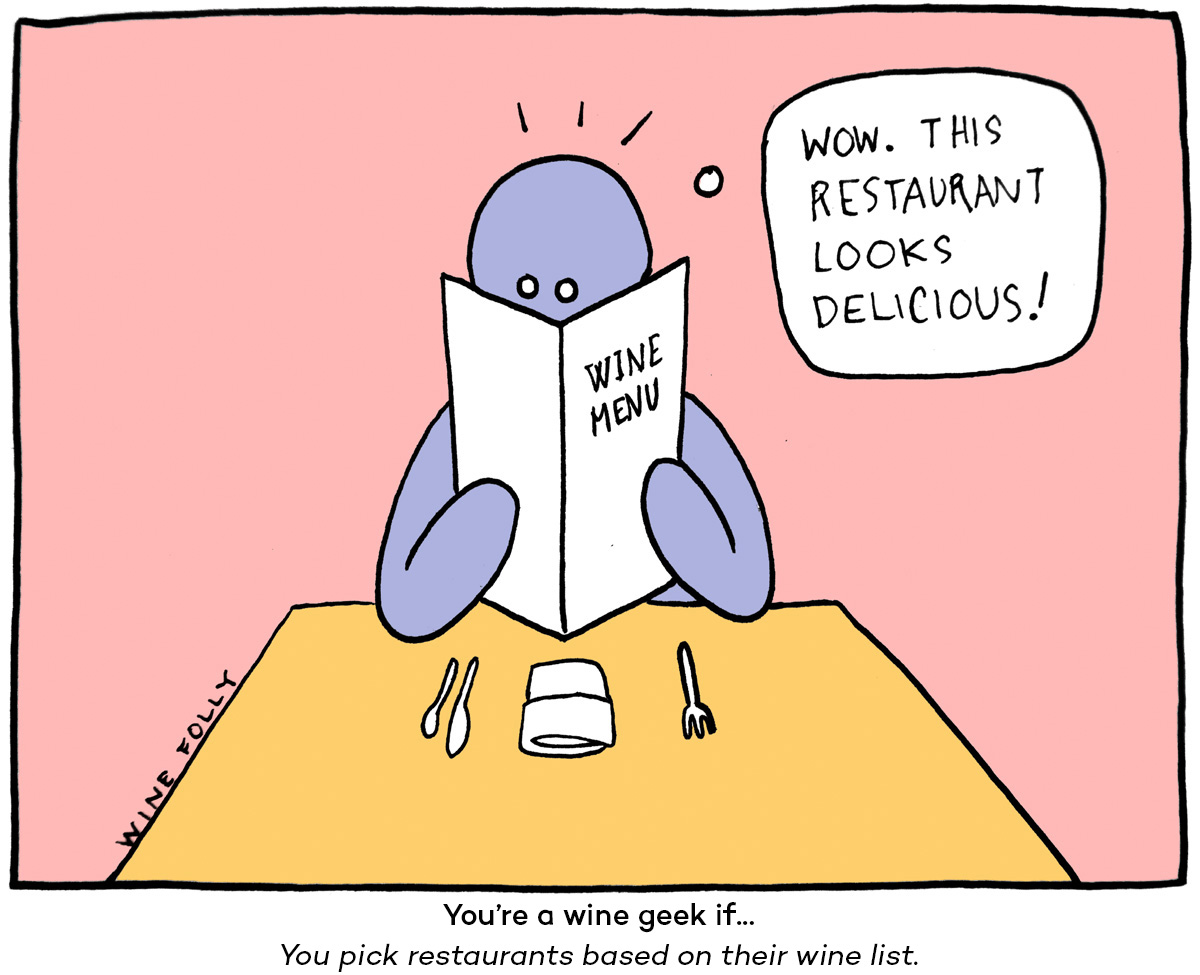 wine comic by Wine Folly picking wine in a restaurant