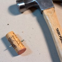 Wine Cork Crafting with a Hammer and Nails