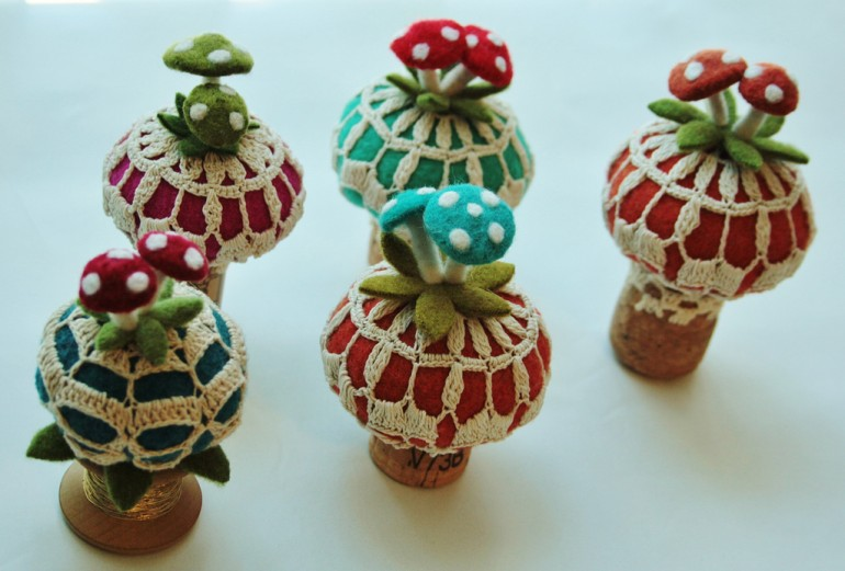 wool felted Champagne Cork Ornaments