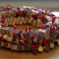 wine cork wreath diy with ribbon