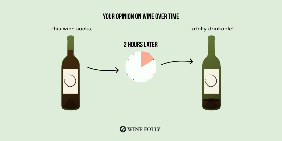 your opinion of wine over time as you drink a bottle