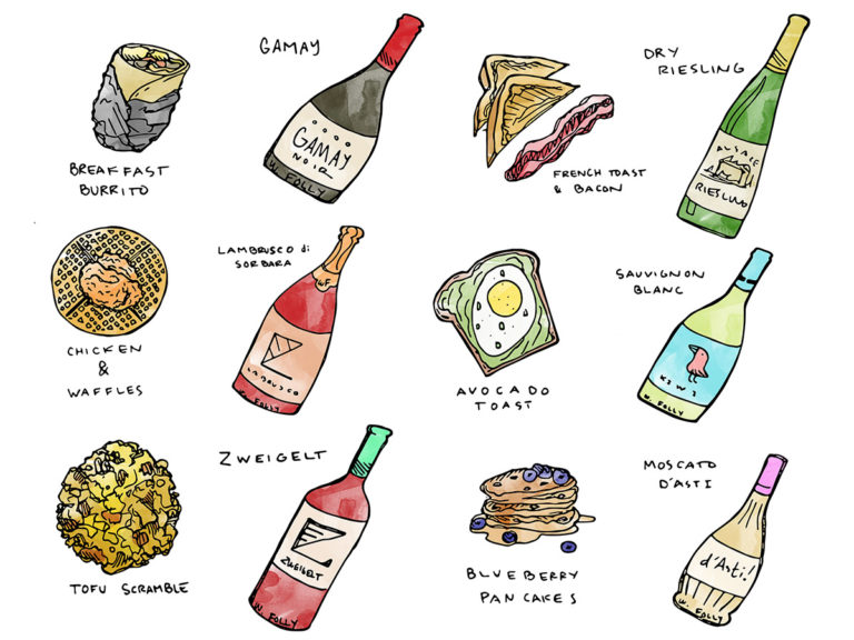 Examples of wine for breakfast illustrations by Wine Folly