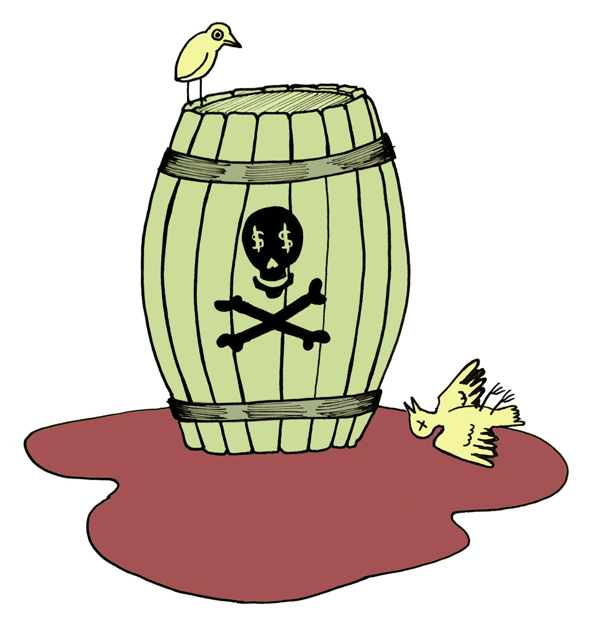 Wine Fraud Illustration Barral skull cross bones