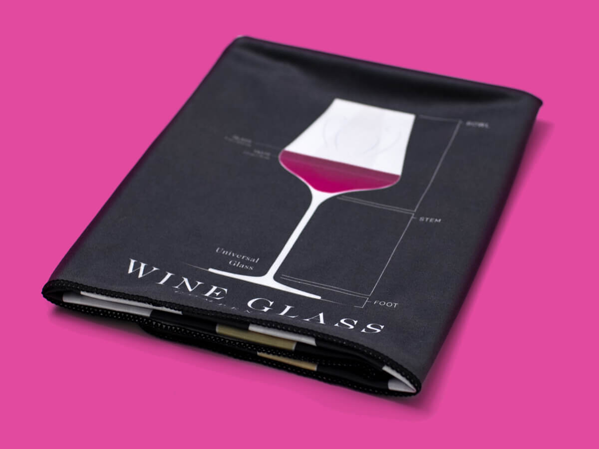 Wine Glass polishing cloth with wine glass compedium print