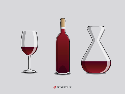 Wine Glassware Serving Basics with a red wine bottle and a decanter