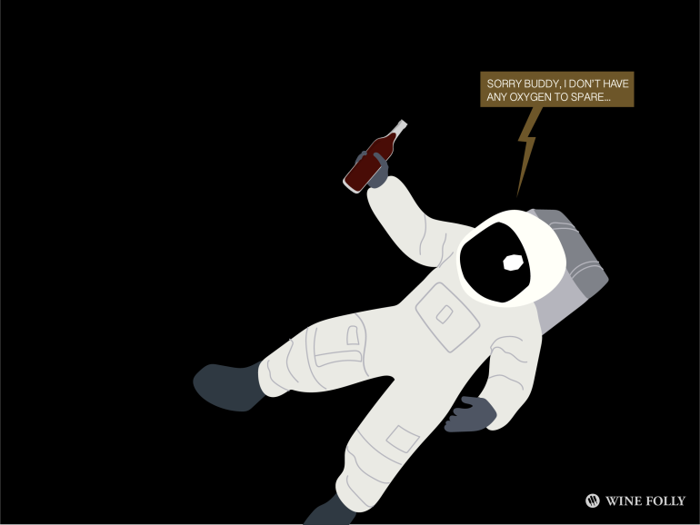 drinking wine in outerspace