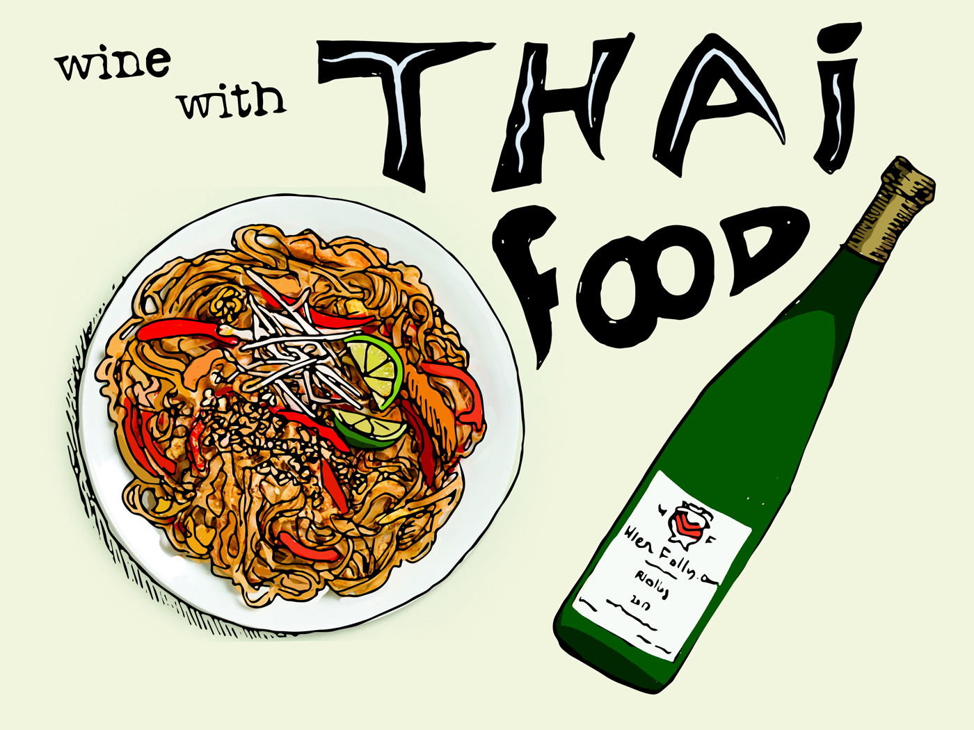 Pairing Wine with Thai Food - Pad Thai and Riesling Illustration Wine Folly