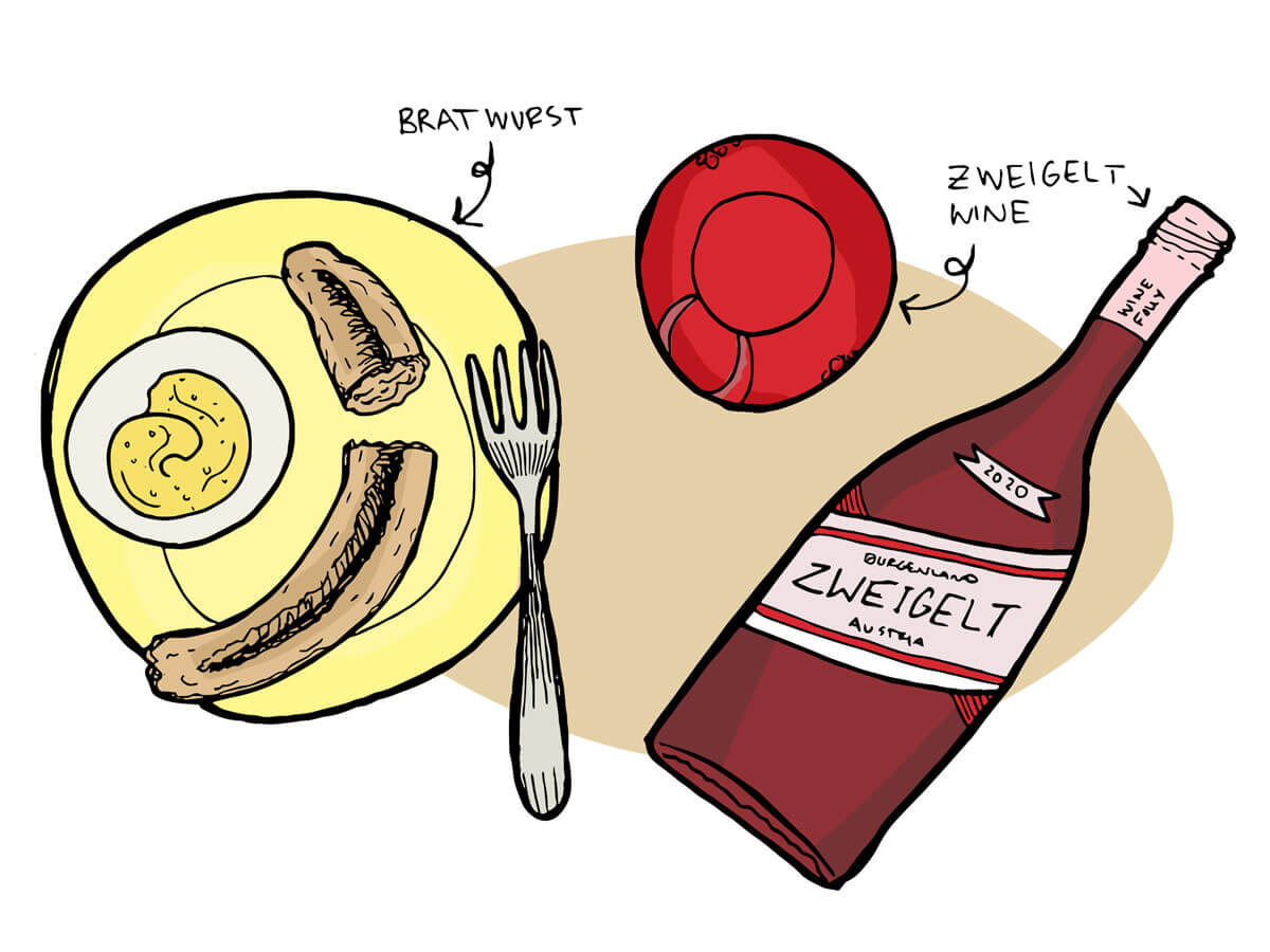 illustration of wine pairing with bratwurst and zweigelt from austria - Wine Folly