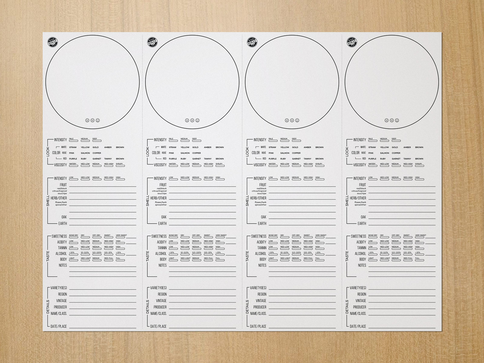Wine Tasting Placemat Set by Wine Folly