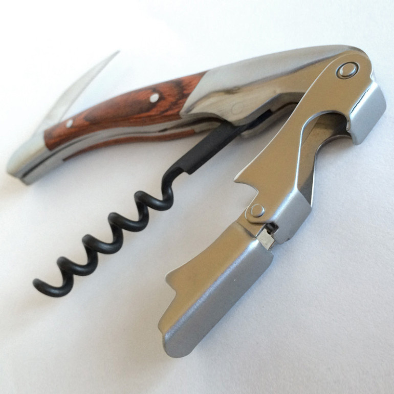 Wooden handled double hinged corkscrew